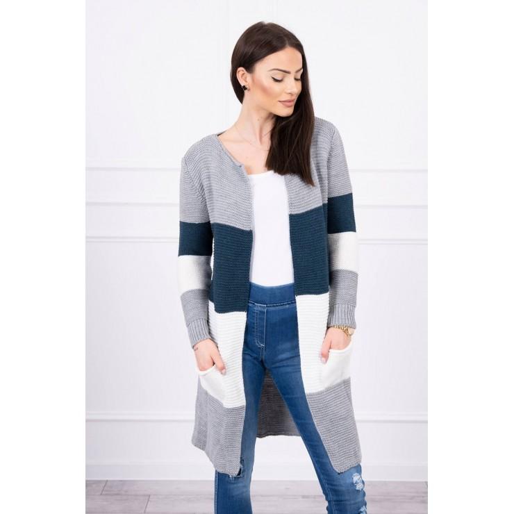 Dámsky sveter so širokými pruhmi  MI2019-12 tmavý jeans