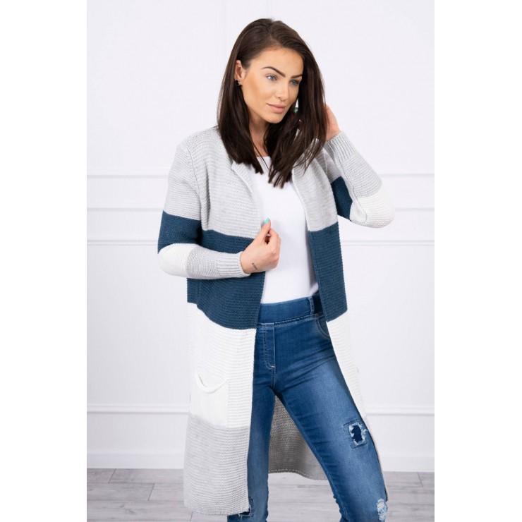 Dámsky sveter so širokými pruhmi  MI2019-12 svetlošedá+jeans