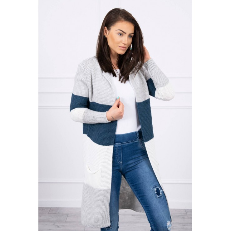 Ladies long sweater with wide stripes MI2019-12 light gray+jeans