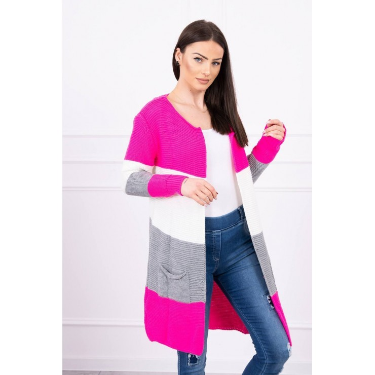 Ladies long sweater with wide stripes MI2019-12 neon pink