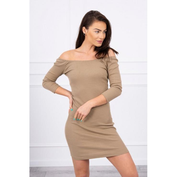 Vroubkované šaty s výstřihem MI8974 camel