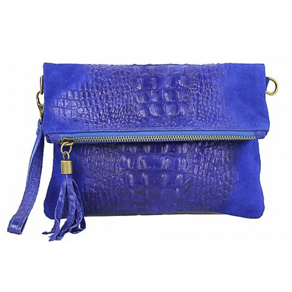 Kožená kabelka krokodíl 630 azurovo modrá Made in Italy Modrá
