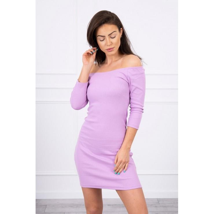 Vroubkované šaty s výstřihem MI8974 fialové