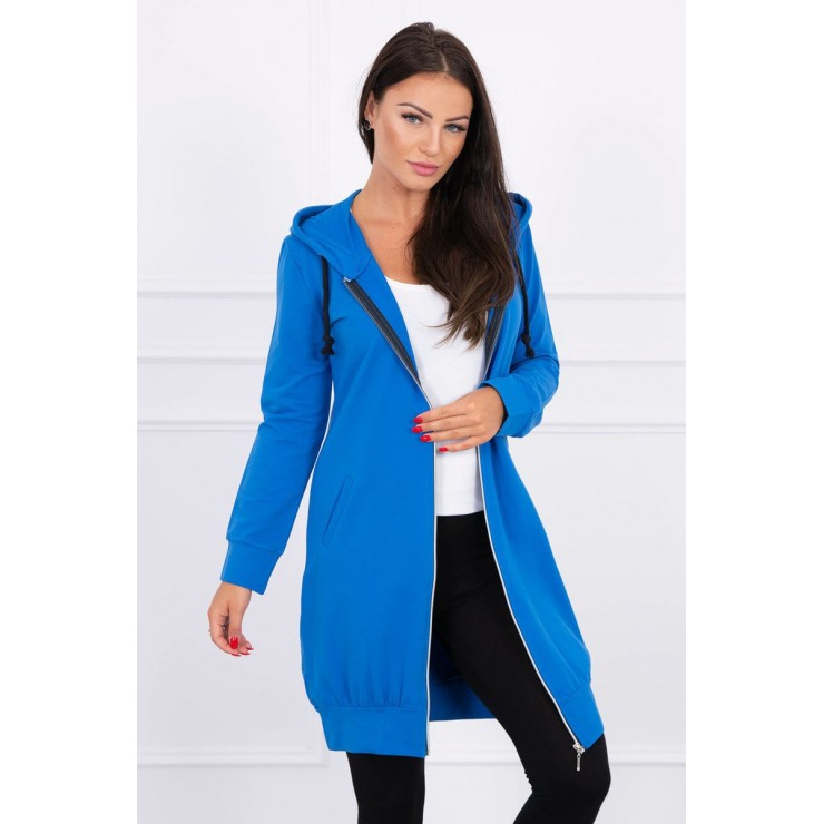 Dámská mikina s kapucí a kapsami MI8924 azurovo modrá