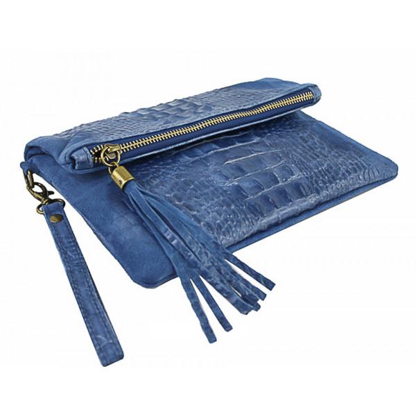 Kožená kabelka krokodíl 630 azurovo modrá