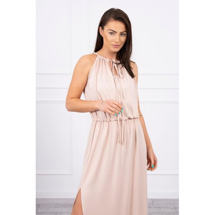 Dlouhé šaty s rozparkem MI8893 béžové