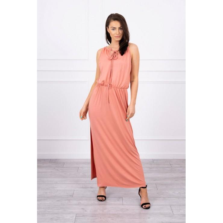 Dlhé šaty s rozparkom MI8893 marhuľové