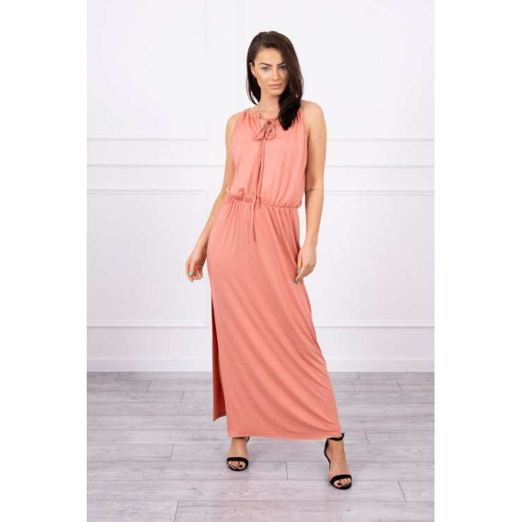 Long dress with slit MI8893 apricot