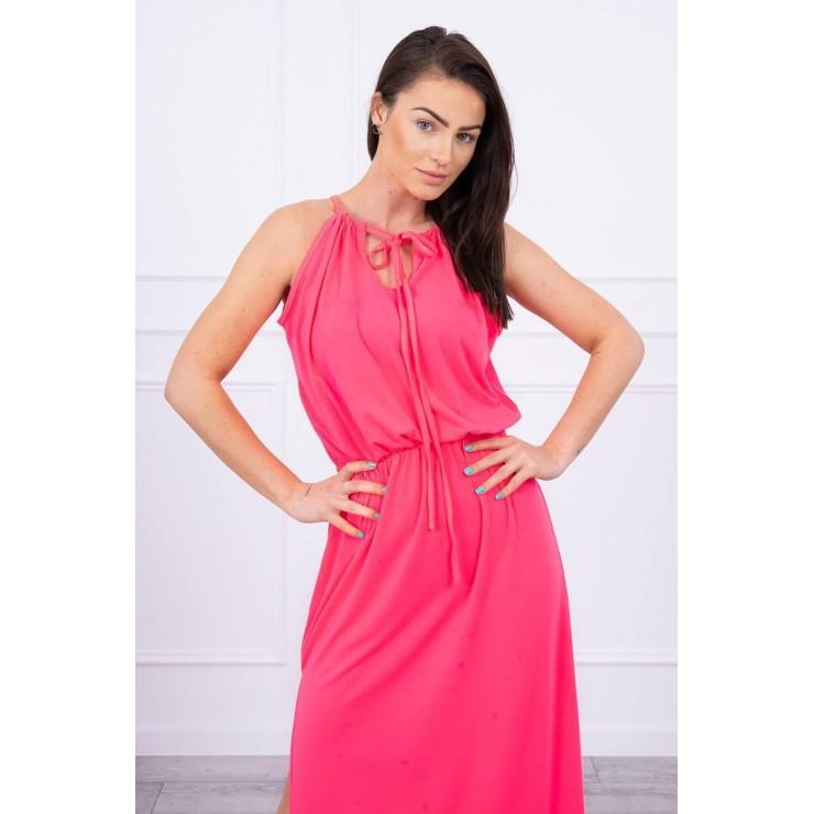 Dlouhé šaty s rozparkem MI8893 neonově růžové