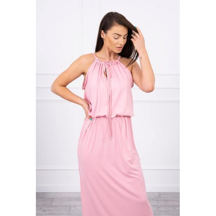 Dlouhé šaty s rozparkem MI8893 pudrově růžové