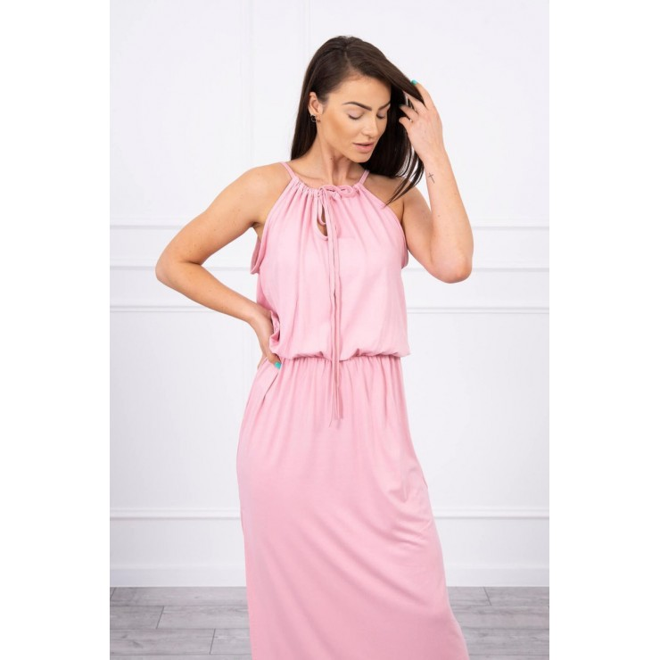 Long dress with slit MI8893 powder pink