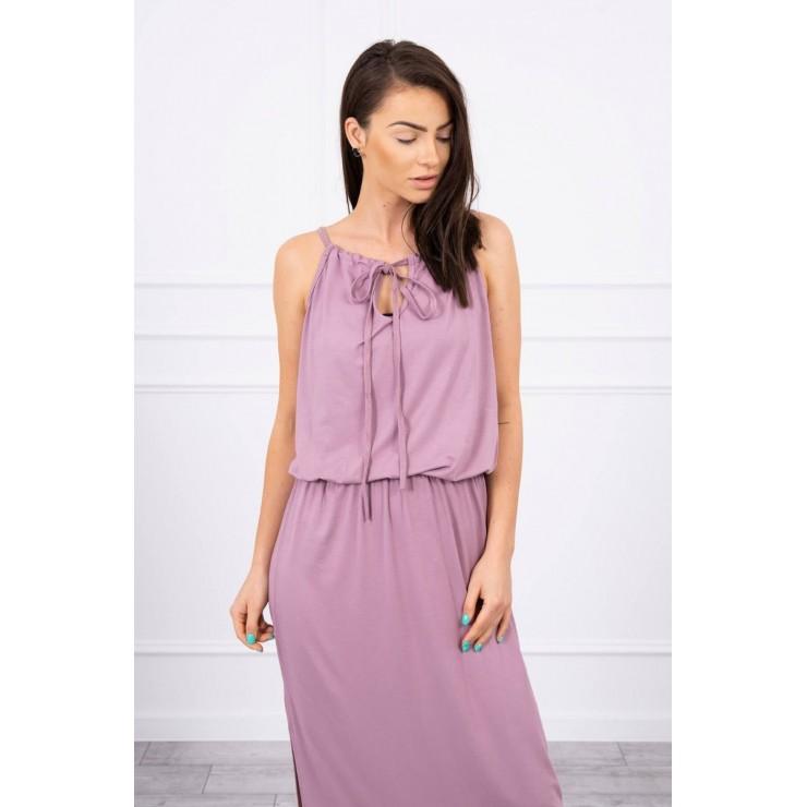 Dlouhé šaty s rozparkem MI8893 fialové