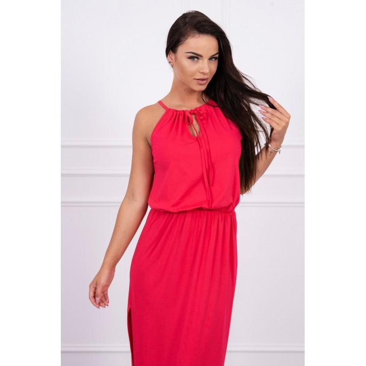 Dlouhé šaty s rozparkem MI8893 malinové