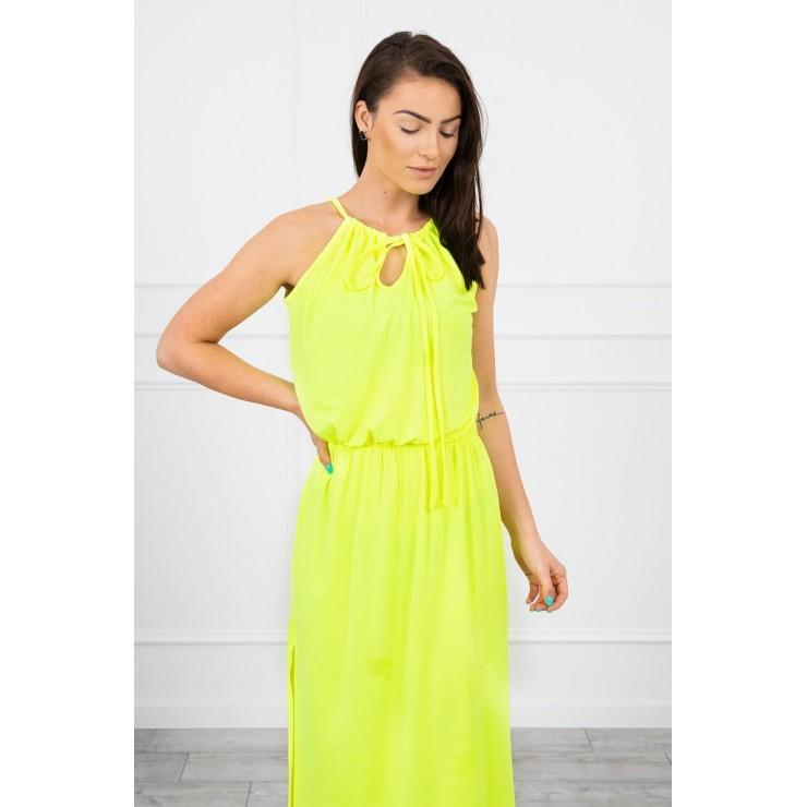 Dlouhé šaty s rozparkem MI8893 neonově žluté