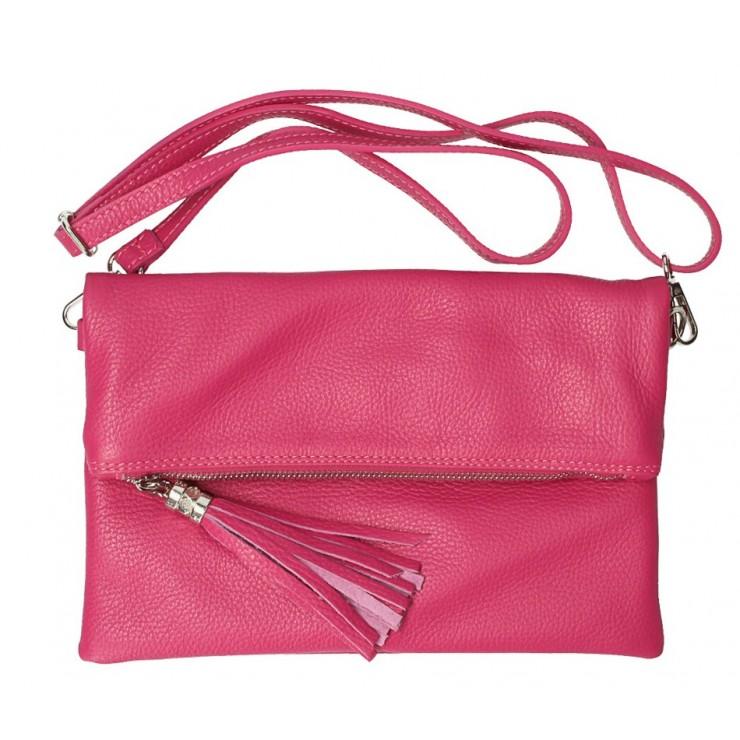 Genuine Leather Handbag 668 fuxia