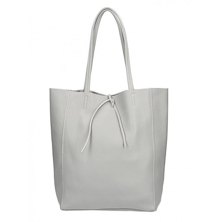 Genuine Leather Maxi Bag 396 gray
