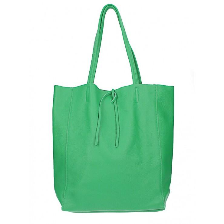 Kožená shopper kabelka 396 zelená Made in Italy