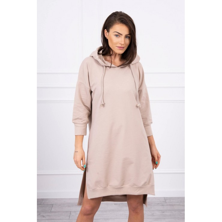 Dress with extended back and with e hood MI9078 beige