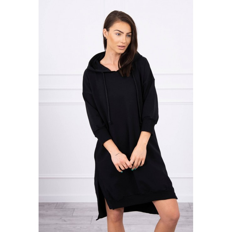 Dress with extended back and with e hood MI9078 black