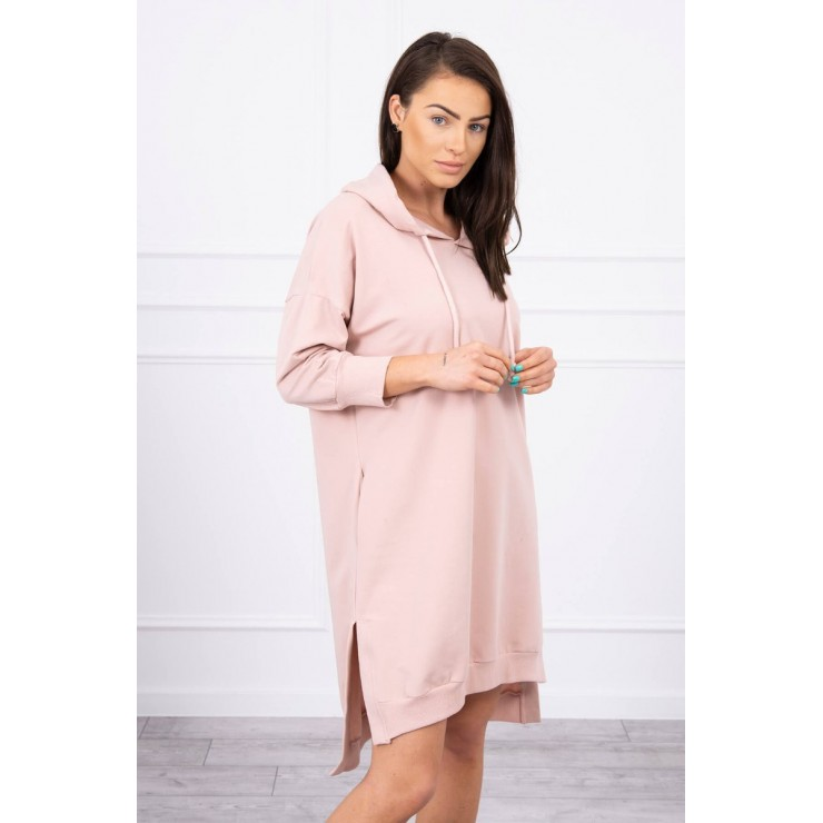 Dress with extended back and with e hood MI9078 powder pink