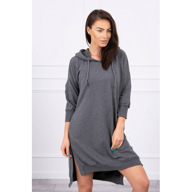 Dress with extended back and with e hood MI9078 graphite