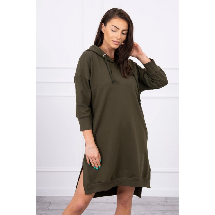 Dress with extended back and with e hood MI9078 dark green