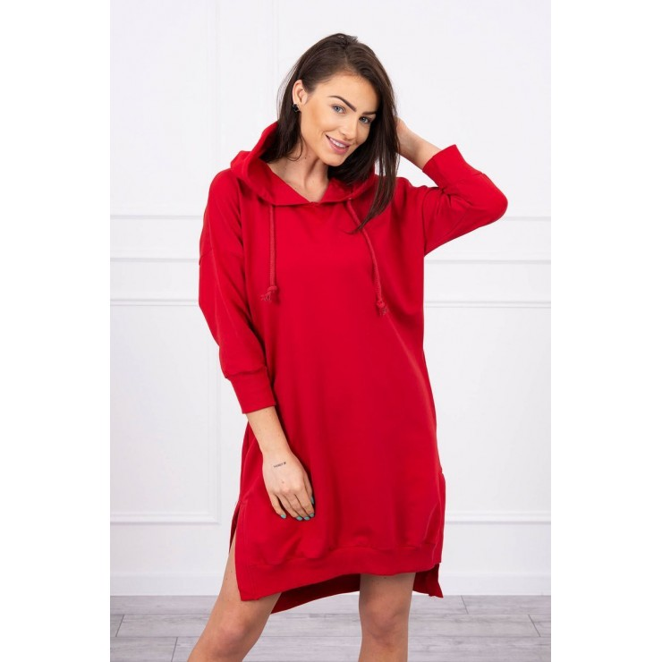 Dress with extended back and with e hood MI9078 red