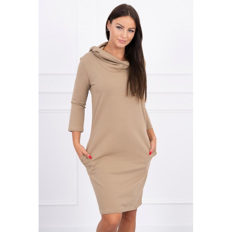 Dress with hood and pockets MIG8847 camel