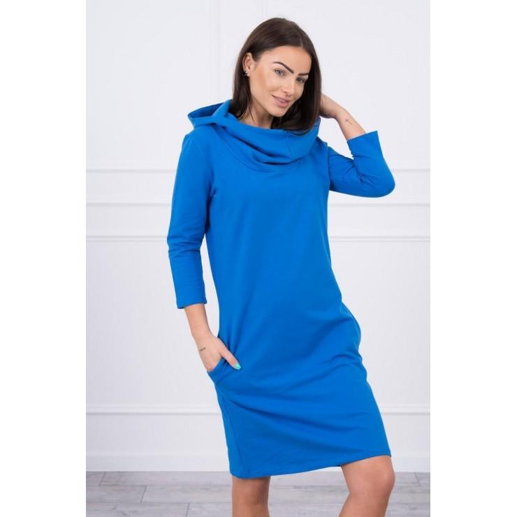 Šaty s kapucí a kapsami MIG8847 azurovo modré