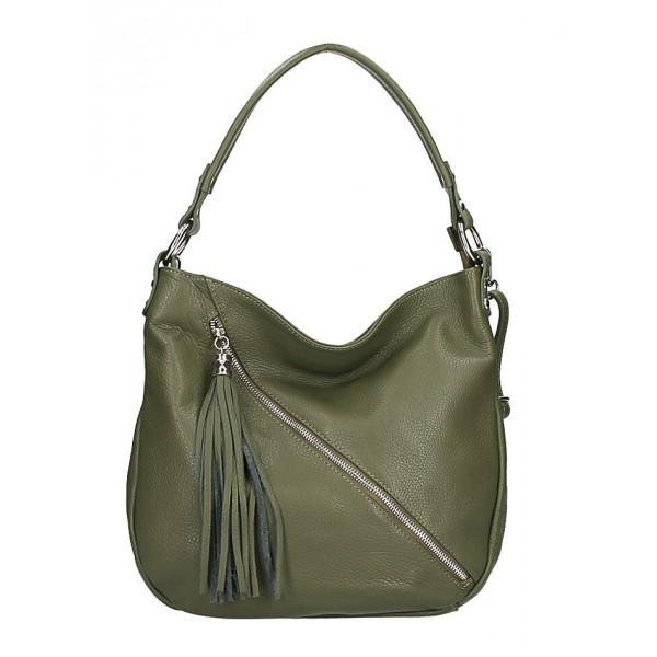 Dámska kožená kabelka 259 vojensky zelená Zelená