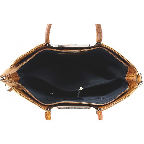 Kožená kabelka kroko štýl 1140 hnedá Hnedá