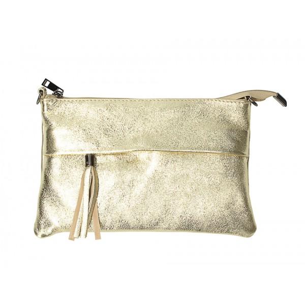 Kožená kabelka 1423A zlatá Made in Italy Zlatá