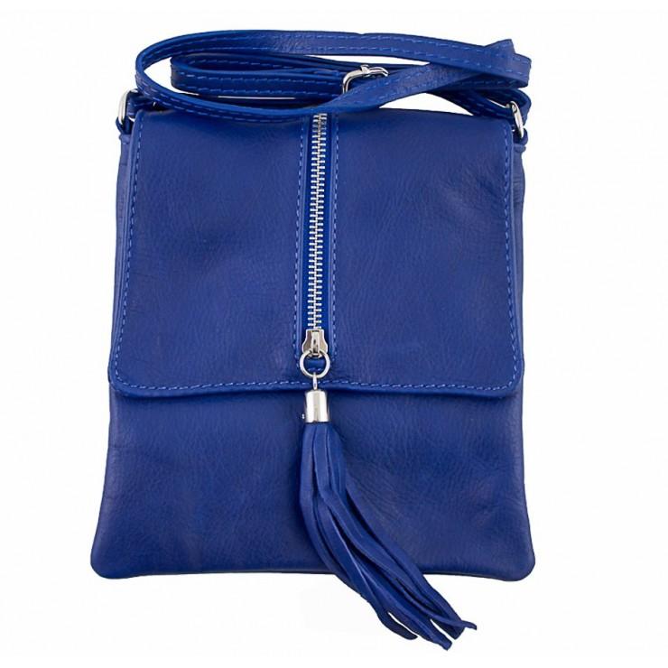 Kožená kabelka na rameno 603A azurovo modrá