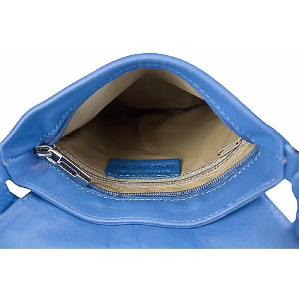 Kožená kabelka na rameno 603A azurovo modrá Modrá