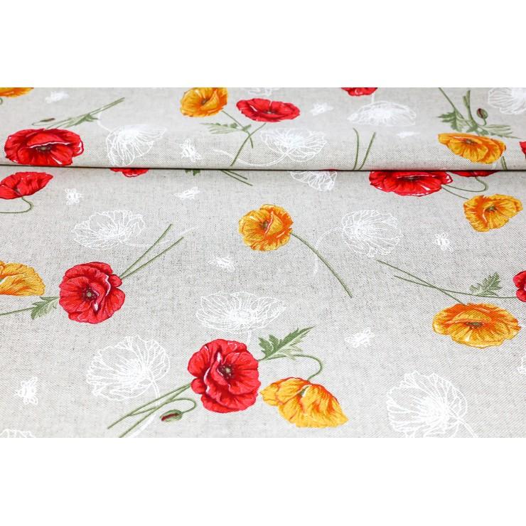 Fabric wild poppies orange