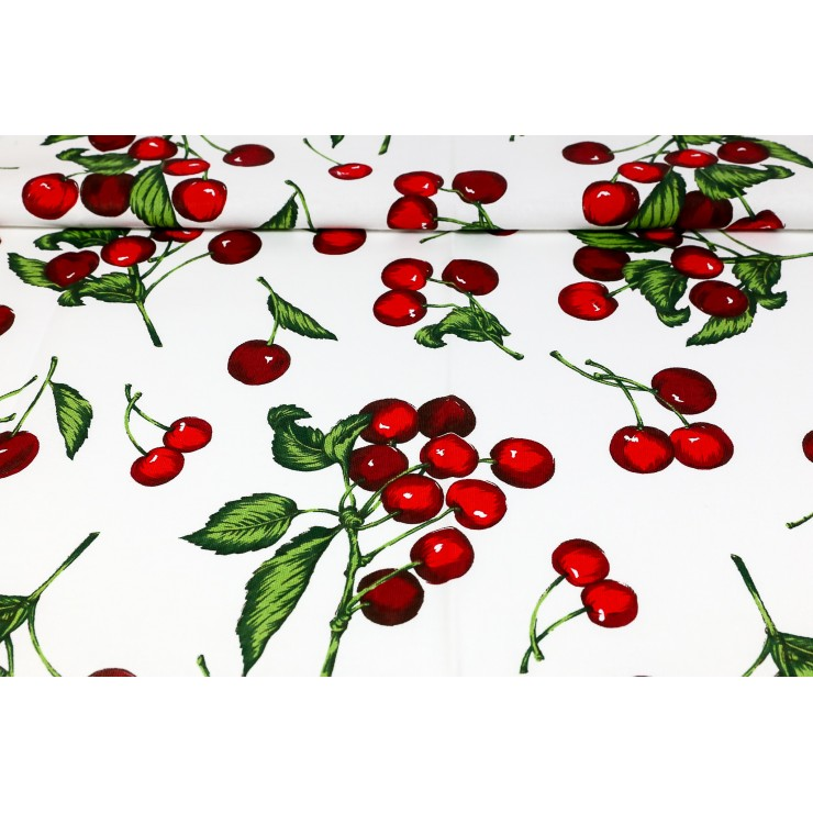 Fabric Cotton panama cherries