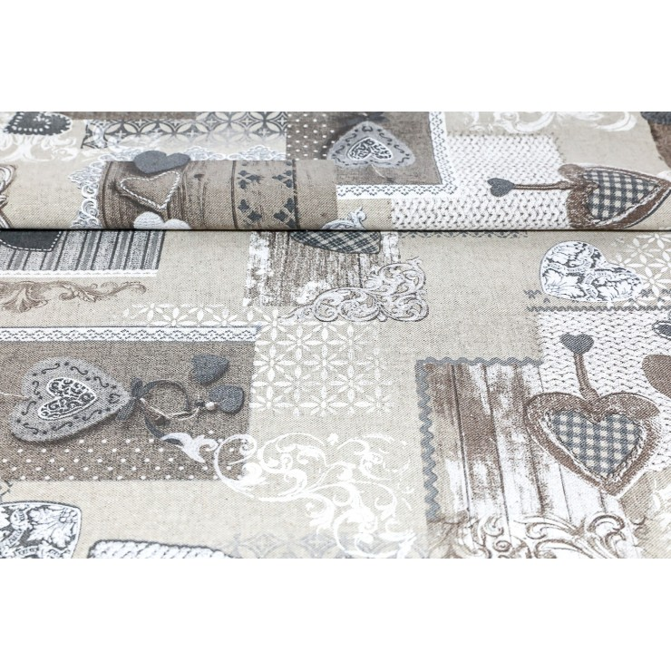 Fabric patchwork with taupe hearts