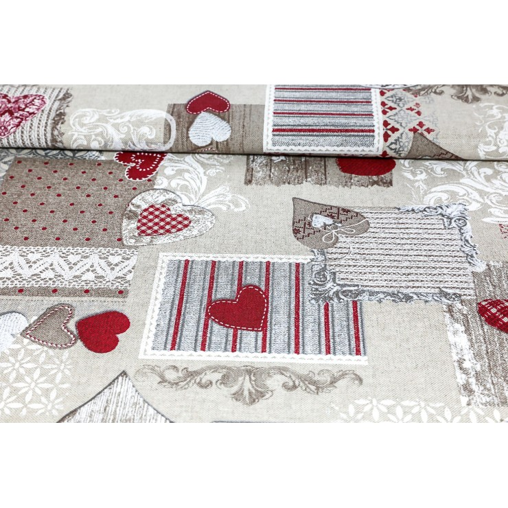 Fabric patchwork with red hearts