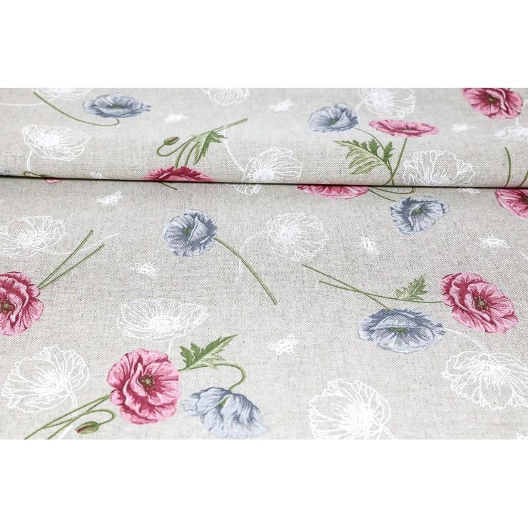 Fabric wild poppies powder pink