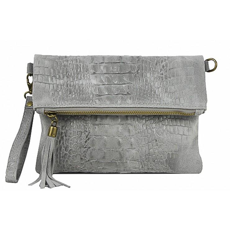 Kožená kabelka krokodíl 630 šedá