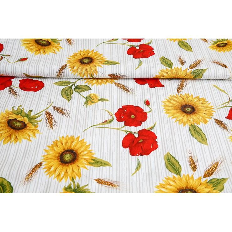 Dekoračná látka Bavlna slnečnice a divé maky prúžkované