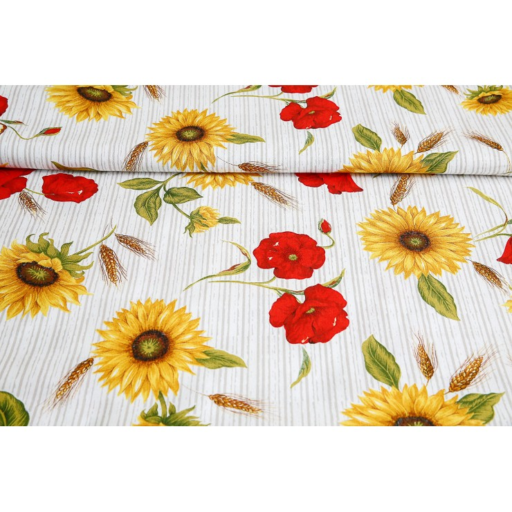 Fabric Cotton sunflowers and striped poppies