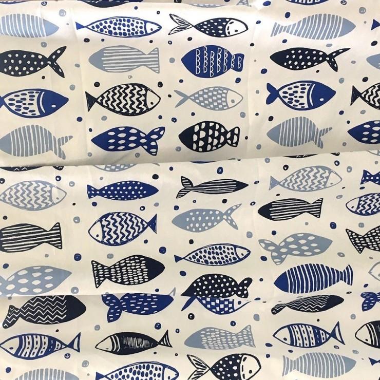 Dekorační látka Bavlna rybičky modré