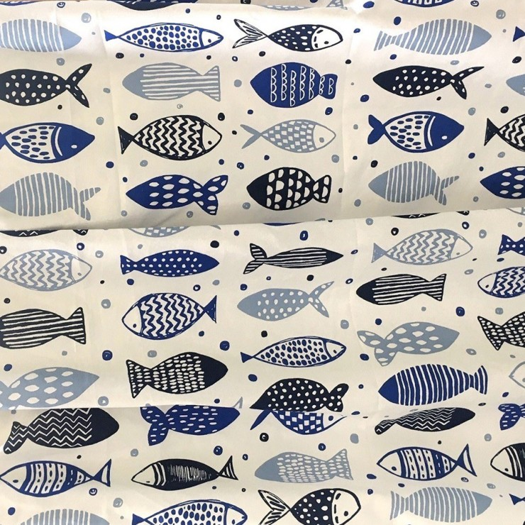 Fabric Cotton blue fish