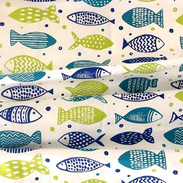 Dekorační látka Bavlna rybičky zelené