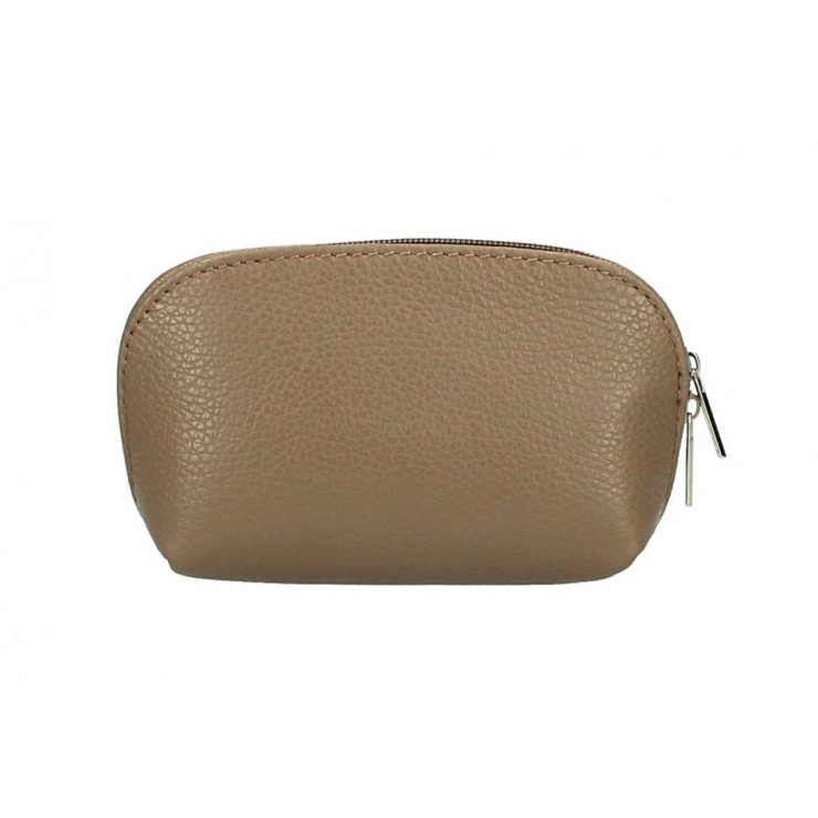 Leather Pouch 593 dark taupe Made in Italy