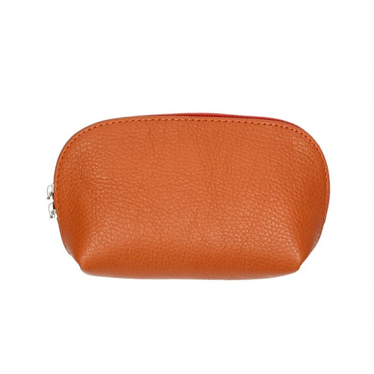 Leather Pouch 593 papaya Made in Italy