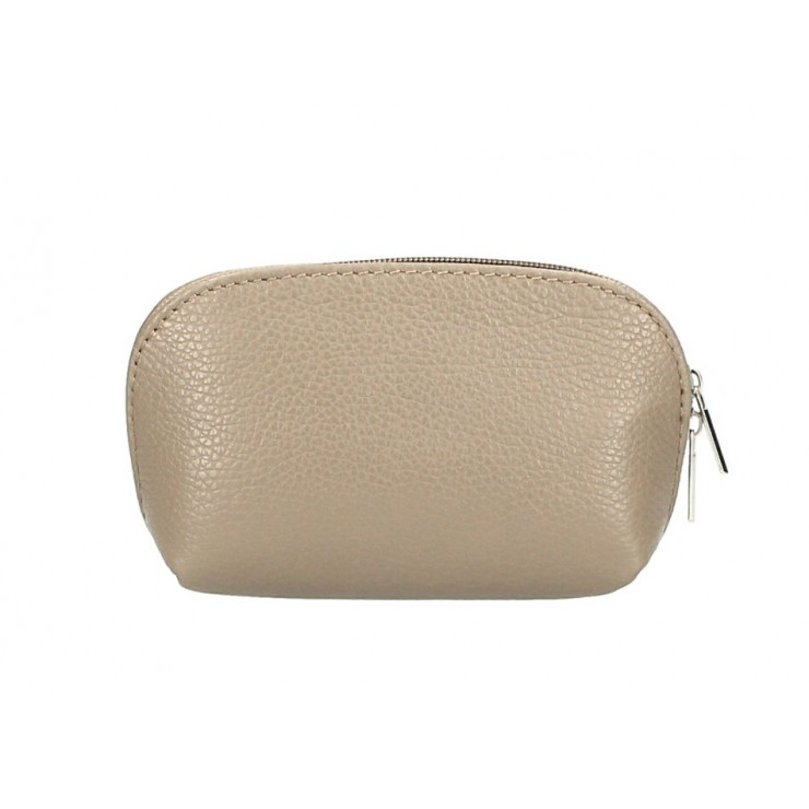 Leather Pouch 593 taupe Made in Italy