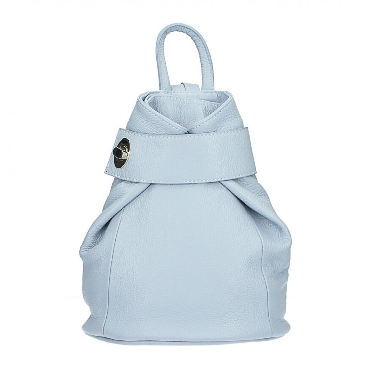 Leather backpack 443 light blue Made in Italy