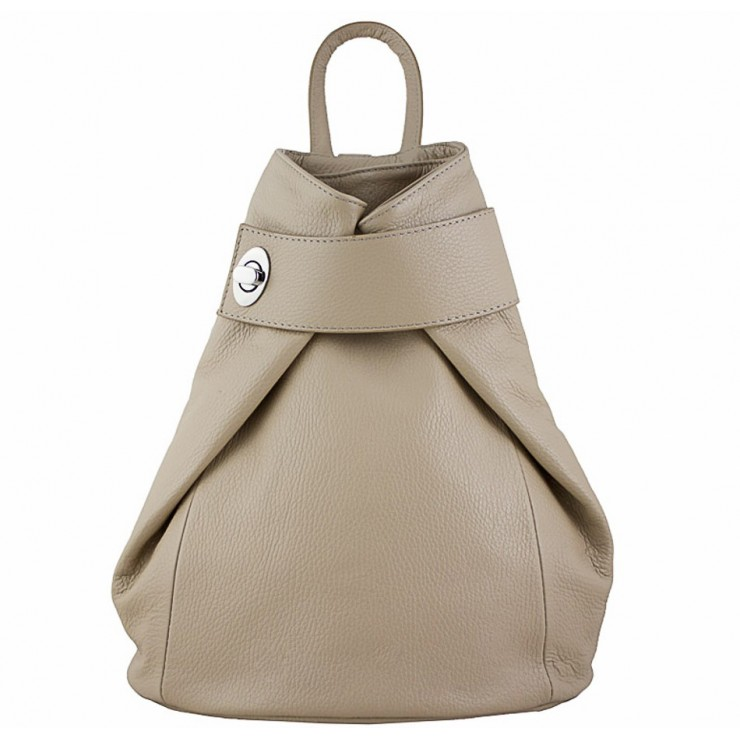 Leather backpack 443 taupe Made in Italy